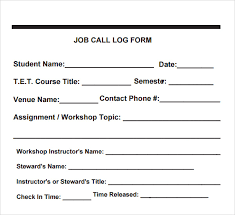 13 Sample Call Log Templates Pdf Word Excel Pages