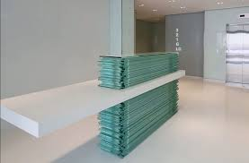 Stacked Glass and Corian Reception Desk, Chelsea, London | Design Noir