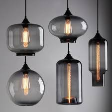 modern smoky grey glass shade loft cafe pendant light ceiling lamp in home furniture