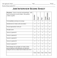 Interview Score Sheet Template Best Photos of Scoring Interview With Sample Templates Job 2