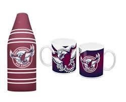 set of 2 manly sea eagles nrl long neck tallie 750ml beer bottle holder ceramic coffee mug tea cup
