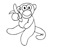 Small Picture Printable Monkey with a banana coloring page from FreshColoringcom