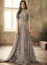 Full Length Suit Design Resham Net Floor Length Anarkali Suit