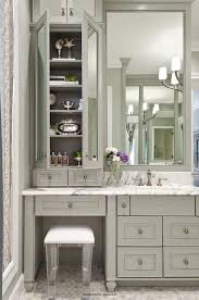 bathroom makeup vanity. Gray Bath Vanity With Lucite Stool \u2013 Transitional Bathroom Makeup T