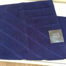 nate berkus navy blue cotton textured stripe bath rug 20 x 34