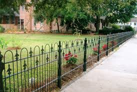 wrought iron fence brick. Wrought Iron Fence With Brick Pillars