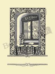 b253 books by open window with ex libris text bookplate