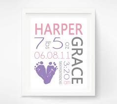 baby girl birth announcement wall art poster baby footprint art baby nursery decor  on personalized baby announcement wall art with pink gray girls nursery birth announcement wall art baby