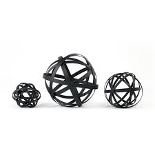 Decorative Sphere Balls Enchanting Black Metal Sphere Set Decorative Metal Orbs Set Of ThreePlatt Designs