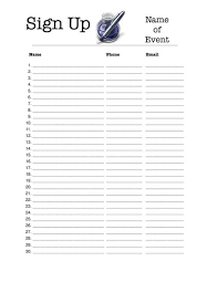 Name Email Phone Number Sign Up Sheet Portrait 30 Person Sign Up Sheet