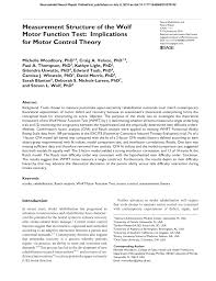 pdf merement structure of the wolf motor function test implications for motor control theory