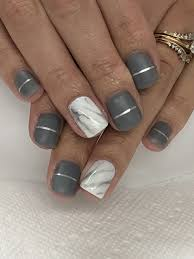 Gel Nail Marble Design Matte Grey And White Marble Gel Nails Gel Nails Gel