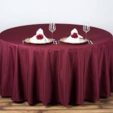 attractive dark red polyester cloth round tablecloths for dining table design