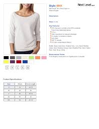 Next Level Raglan Shirt Size Chart Next Level 6951 Terry Raw Edge 3 4 Sleeve Raglan