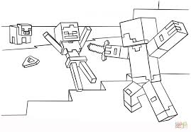 Small Picture Coloring Pages Minecraft Steve Vs Skeleton Coloring Page Free
