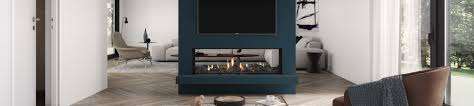 spartherm double sided wood fireplace kiwi living room with a gas fire
