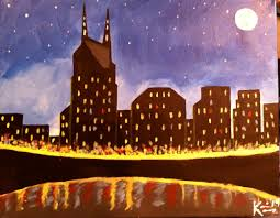 nashville skyline artistic nashville skyline full moon