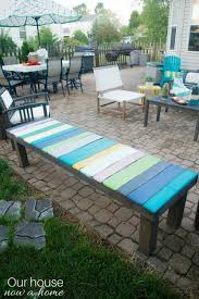 diy wood pallet bench low cost and simple way to add color to your outdoor