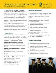 Curriculum And Instruction Joint Degree By Baylor University