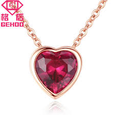2019 gehoo 925 sterling silver red ruby heart pendant necklace cubic zircon circle paved charm chains for women wedding jewelry gift from wutiamou
