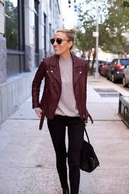 fall uniform in black jeans x burdy leather jacket
