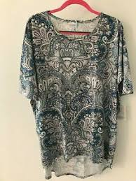 Xl Irma Size Chart Details About Xl Lularoe Irma Beautiful Paisley Blue Black Gray White Green Nwt