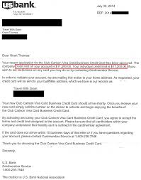 Us Bank Club Carlson Biz Approval Letter