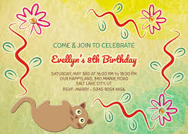 Free Birthday Invitation Templates With Photo Cat Flower Birthday Invitation Template Free Editable Psd File