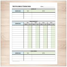 Daily Exercise Log Printable Kettlebell Exercise Log Daily Workout Sheet With Etsy