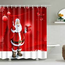 2019 santa printed bath waterproof shower curtain rosegal com
