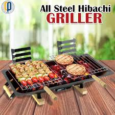 all steel hibachi griller black