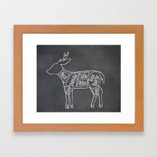 Venison Butcher Diagram Deer Meat Chart Framed Art Print