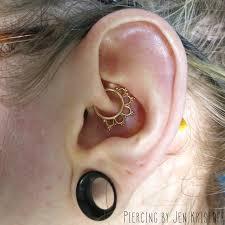 jenthepiercer daith piercing with yellow gold jewelry by buddha jewelry organics