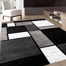 black and grey living room rug