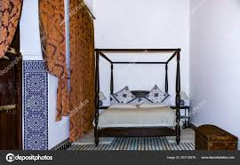 Traditional Moroccan Bedroom Canopy Bed Mosaic Drapes Riad Fes ...