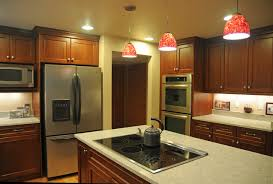 U Shape Kitchen With Red Pendant Lighting Over Island Transitional Kitchen