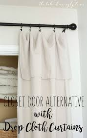 DIY closet door alternative with drop cloth curtains. Easy and super  affordable!