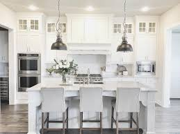 Pendant Lights In White Kitchen Gray And White Kitchen With Metal Pendant Lamps Over Large