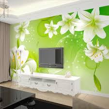 custom 3d mural wallpaper green lily