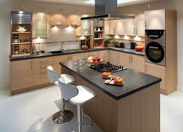fitted kitchens for small spaces. Kitchen. Brown Wooden Kitchen Cabinet And Island With Black Countertop Silver Stool On Fitted Kitchens For Small Spaces