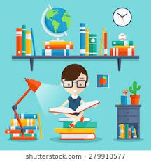 read books concept education and study and literature vector flat ilration with