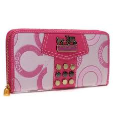 Coach Waverly Stud In Signature Large Pink Wallets AGS