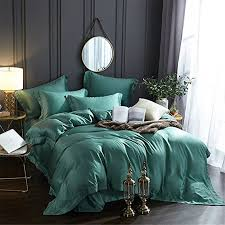 bb er two sided tencel bedding sets pure color smooth spring and summer green