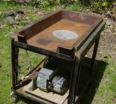 homemade coal forge from almost all free parts oil furnace er as air supply