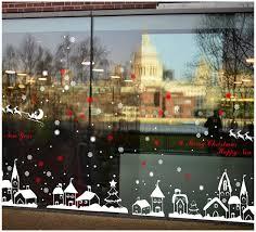 Tuopuda Weihnachtssticker Weihnachten Rentier Schneeflocken Stadt Removable Vinyl Fensterbilder Fensterdeko Weihnachtsdeko Weihnachten Wandaufkleber