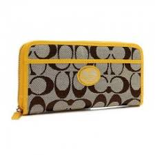 Coach Legacy Accordion Zip In Signature Large Yellow Wallets Outlet Sale
