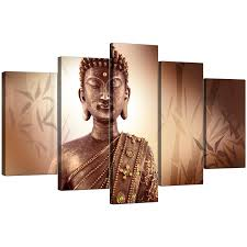 display gallery item 4 5 piece set of modern brown canvas wall art display gallery item 5 on pictures wall art uk with extra large buddha canvas prints uk five panel in brown