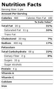 fruit pie nutritional information