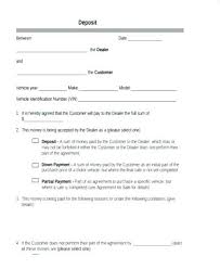 Auto Purchase Agreement Form Vehicle Deposit Car Template