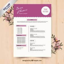 cute purple resume template free vector cute resume templates